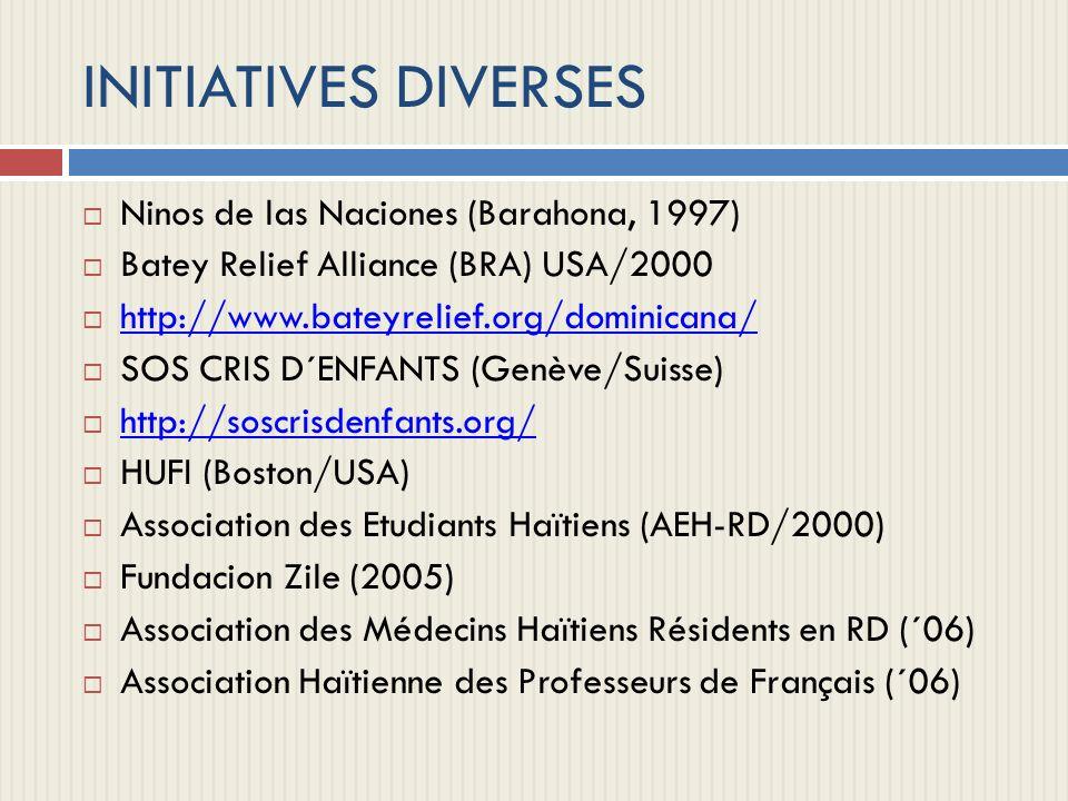 INITIATIVES DIVERSES Ninos de las Naciones (Barahona, 1997) Batey Relief Alliance (BRA) USA/2000 http://www.bateyrelief.org/dominicana/ SOS CRIS D´ENF