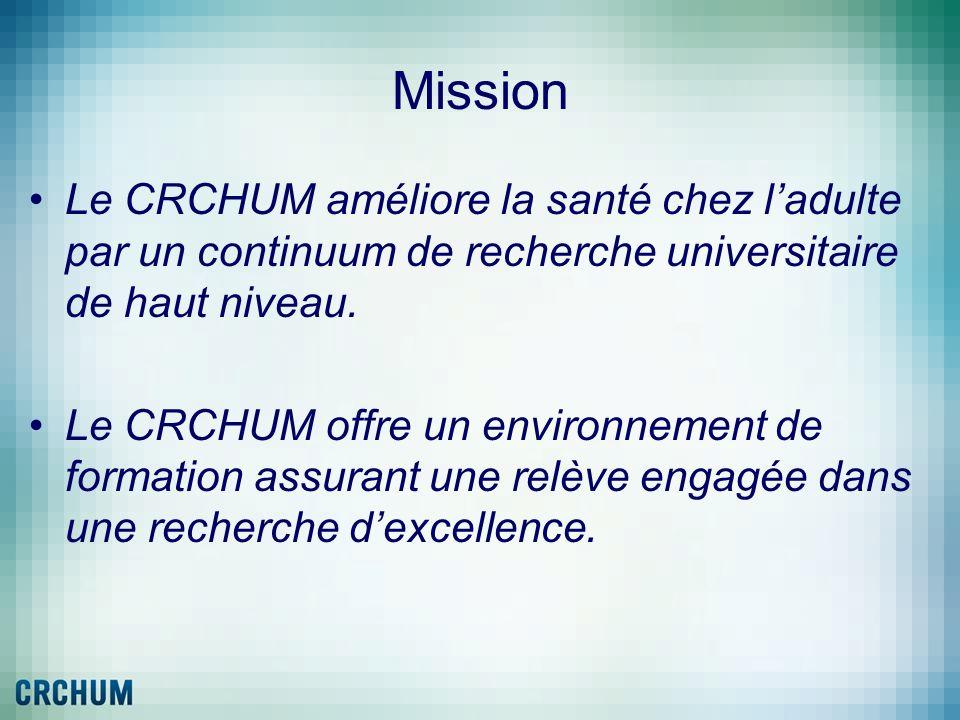 Mission Le CRCHUM améliore la santé chez ladulte par un continuum de recherche universitaire de haut niveau. Le CRCHUM offre un environnement de forma