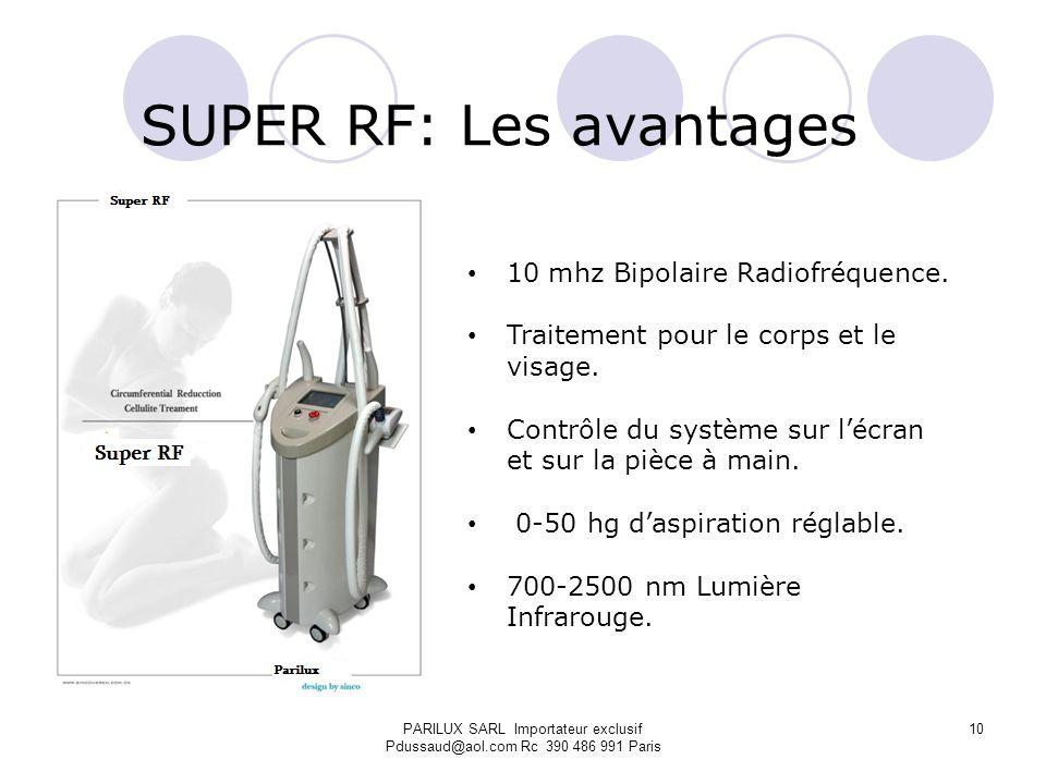 PARILUX SARL Importateur exclusif Pdussaud@aol.com Rc 390 486 991 Paris SUPER RF: Les avantages 10 mhz Bipolaire Radiofréquence. Traitement pour le co
