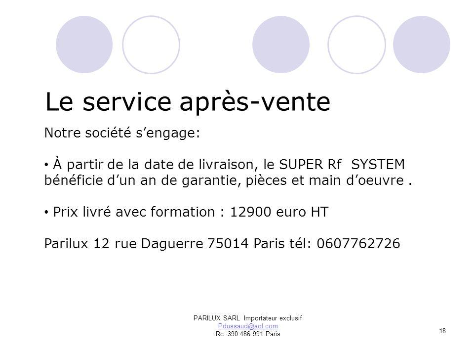 PARILUX SARL Importateur exclusif Pdussaud@aol.com Rc 390 486 991 Paris Le service après-vente Notre société sengage: À partir de la date de livraison