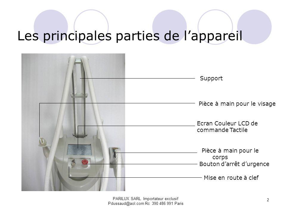 Les principales parties de lappareil Pièce à main pour le corps Ecran Couleur LCD de commande Tactile Pièce à main pour le visage Bouton darrêt durgen