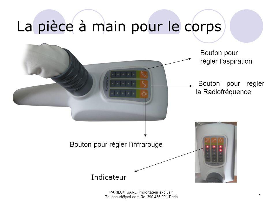 La pièce à main pour le corps Palpé-roulé avec les deux électrodes de la Radiofréquence Mise en route de la pièce à main Aspiration Infrarouge PARILUX SARL Importateur exclusif Pdussaud@aol.com Rc 390 486 991 Paris 4