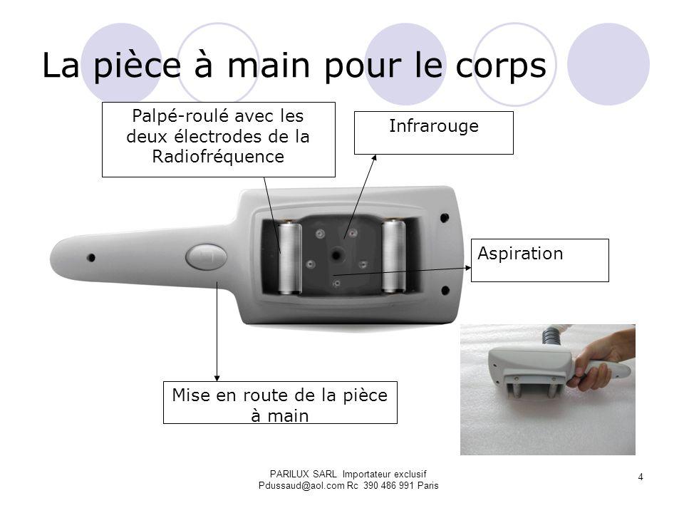La pièce à main pour le corps Palpé-roulé avec les deux électrodes de la Radiofréquence Mise en route de la pièce à main Aspiration Infrarouge PARILUX
