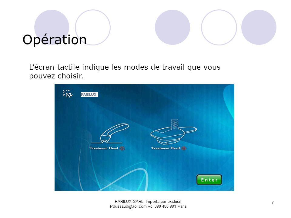 Opération Lécran tactile indique les modes de travail que vous pouvez choisir. PARILUX SARL Importateur exclusif Pdussaud@aol.com Rc 390 486 991 Paris