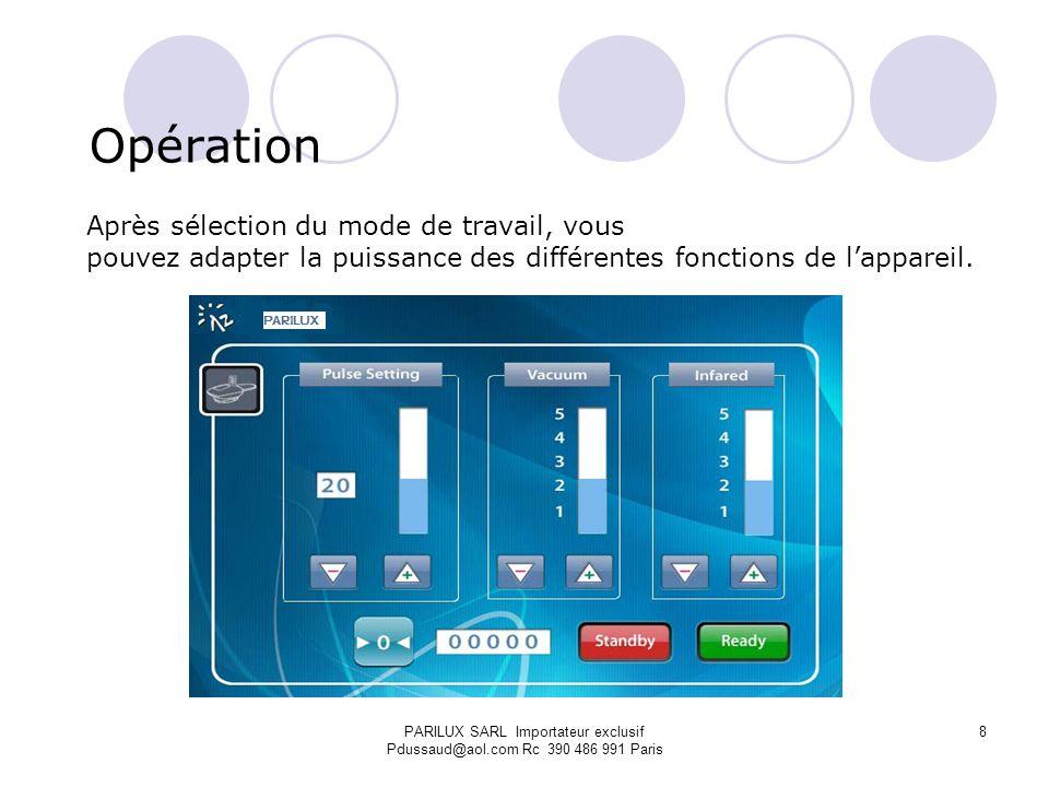 Opération Après sélection du mode de travail, vous pouvez adapter la puissance des différentes fonctions de lappareil. PARILUX SARL Importateur exclus