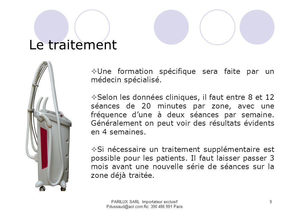 PARILUX SARL Importateur exclusif Pdussaud@aol.com Rc 390 486 991 Paris SUPER RF: Les avantages 10 mhz Bipolaire Radiofréquence.
