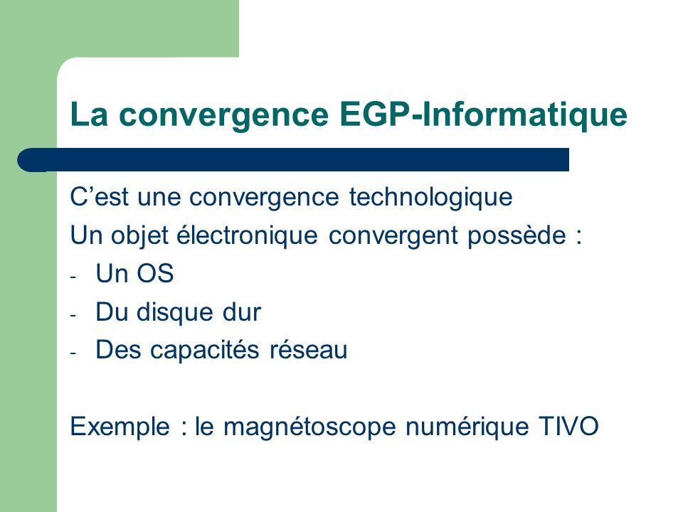 La convergence EGP-Informatique Cest une convergence technologique Un objet électronique convergent possède : - Un OS - Du disque dur - Des capacités