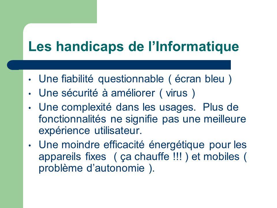 Les handicaps de lInformatique Une fiabilité questionnable ( écran bleu ) Une sécurité à améliorer ( virus ) Une complexité dans les usages. Plus de f
