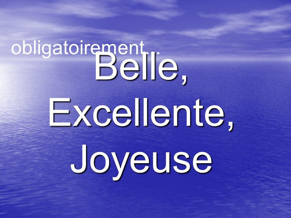 Belle,Excellente,Joyeuse obligatoirement...