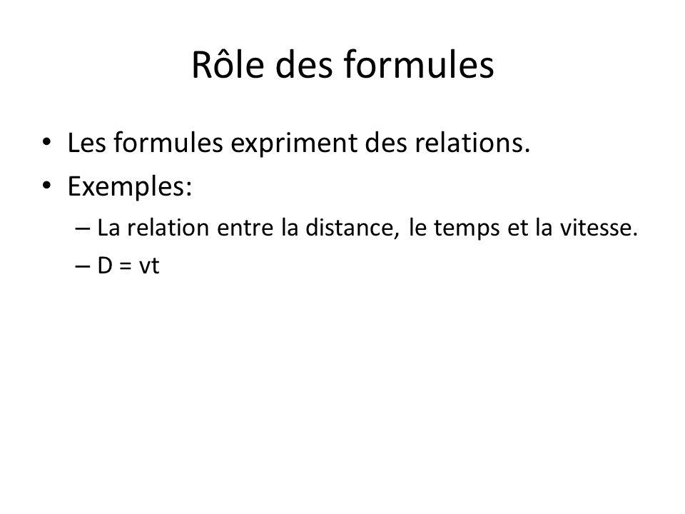 Rôle des formules Les formules expriment des relations. Exemples: – La relation entre la distance, le temps et la vitesse. – D = vt