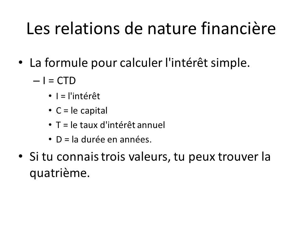 Les relations de nature financière La formule pour calculer l'intérêt simple. – I = CTD I = l'intérêt C = le capital T = le taux d'intérêt annuel D =