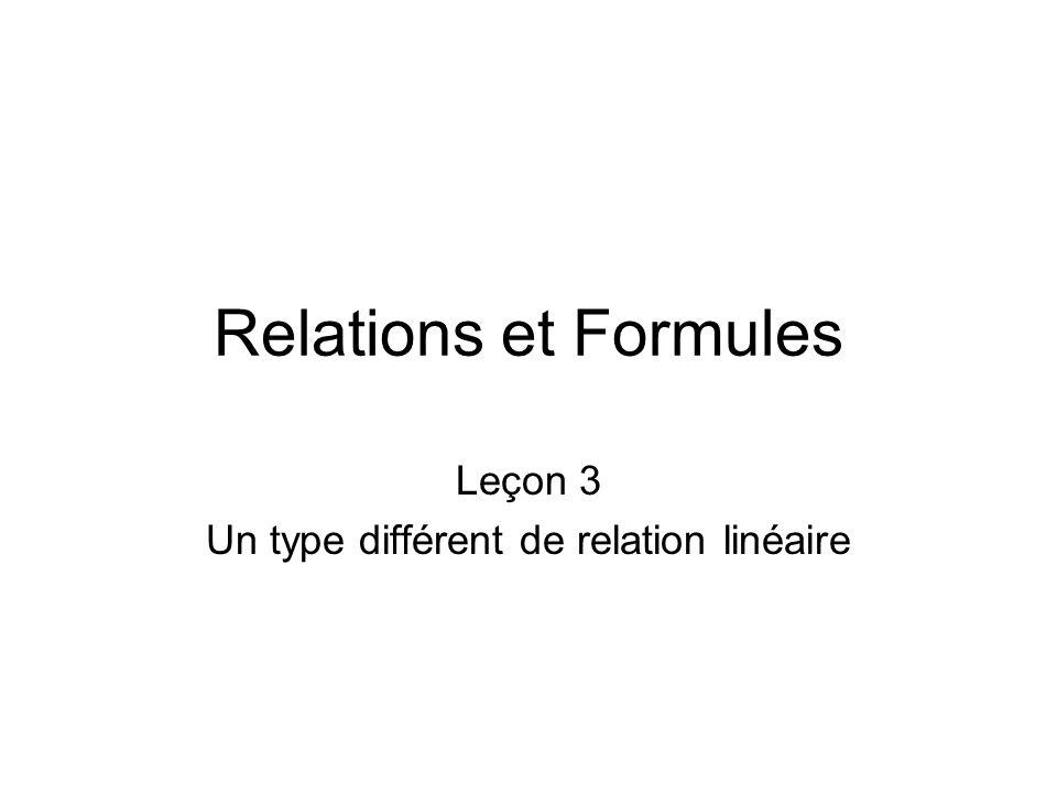 Relations et Formules Leçon 3 Un type différent de relation linéaire