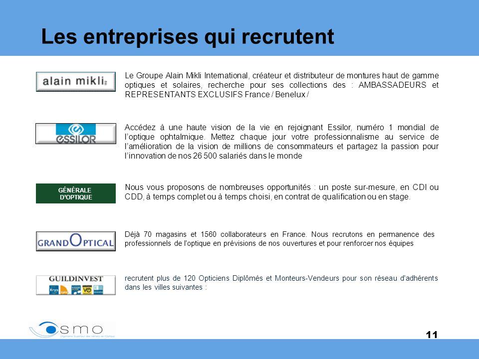11 Les entreprises qui recrutent Le Groupe Alain Mikli International, créateur et distributeur de montures haut de gamme optiques et solaires, recherc