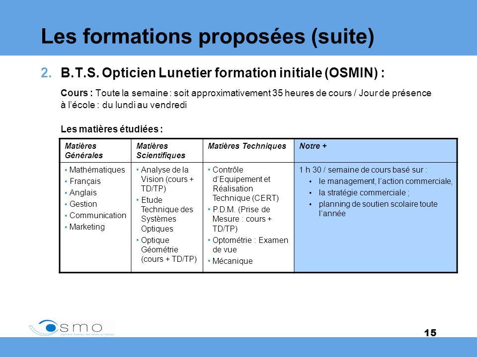 15 Les formations proposées (suite) 2.B.T.S. Opticien Lunetier formation initiale (OSMIN) : Cours : Toute la semaine : soit approximativement 35 heure