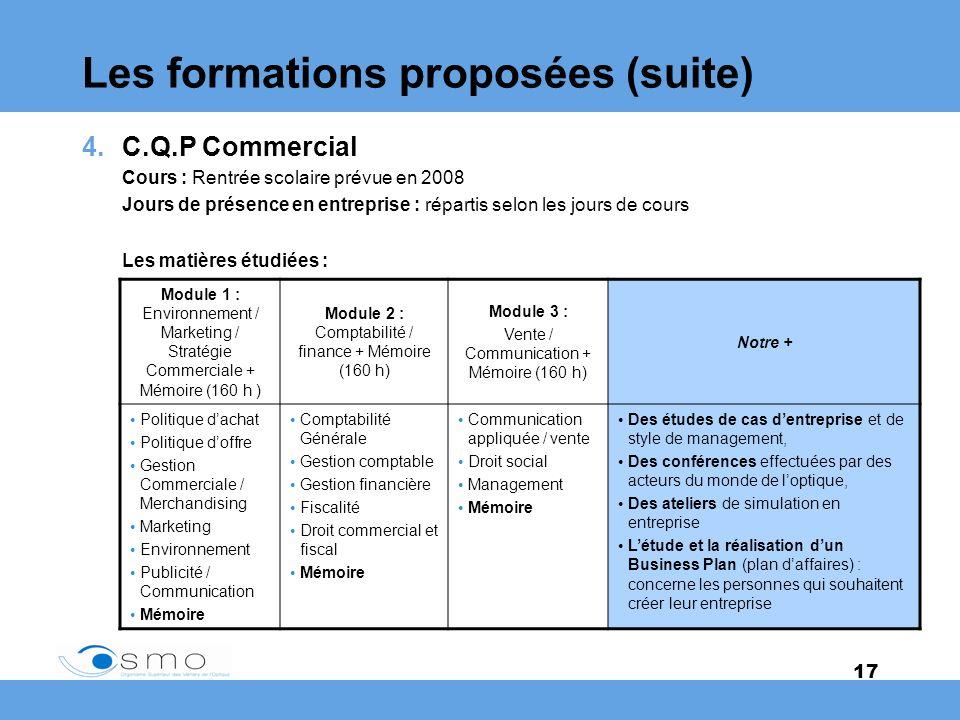 17 Les formations proposées (suite) 4.C.Q.P Commercial Cours : Rentrée scolaire prévue en 2008 Jours de présence en entreprise : répartis selon les jo