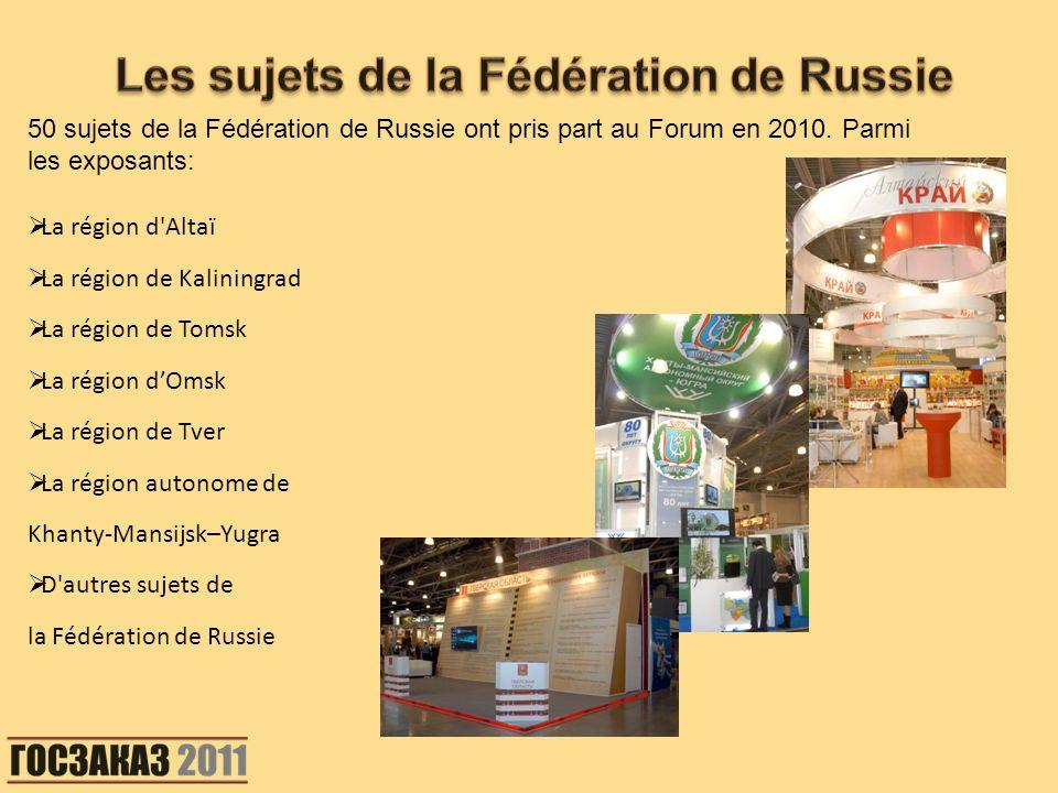 50 sujets de la Fédération de Russie ont pris part au Forum en 2010. Parmi les exposants: La région d'Altaï La région de Kaliningrad La région de Toms