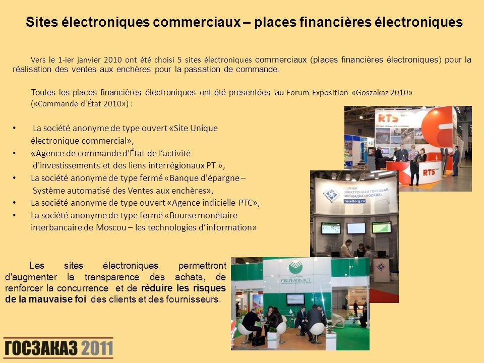 Vers le 1-ier janvier 2010 ont été choisi 5 sites électroniques commerciaux (places financières électroniques) pour la réalisation des ventes aux ench