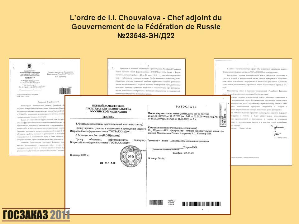 Lordre de I.I. Chouvalova - Chef adjoint du Gouvernement de la Fédération de Russie 23548-ЭН/Д22