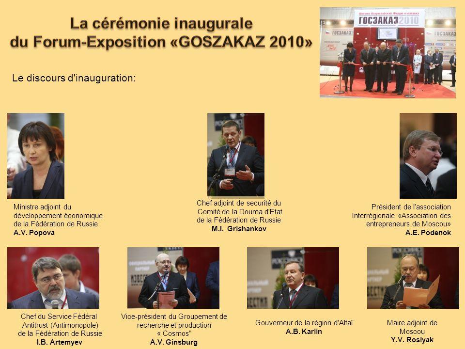 Le discours d'inauguration: Ministre adjoint du développement économique de la Fédération de Russie A.V. Popova Chef du Service Fédéral Antitrust (Ant