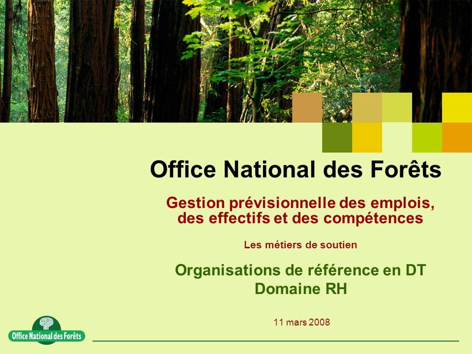Office National des Forêts Gestion prévisionnelle des emplois, des effectifs et des compétences Les métiers de soutien Organisations de référence en D