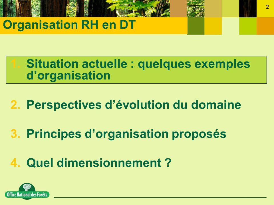2 1.Situation actuelle : quelques exemples dorganisation 2.Perspectives dévolution du domaine 3.Principes dorganisation proposés 4.Quel dimensionnemen
