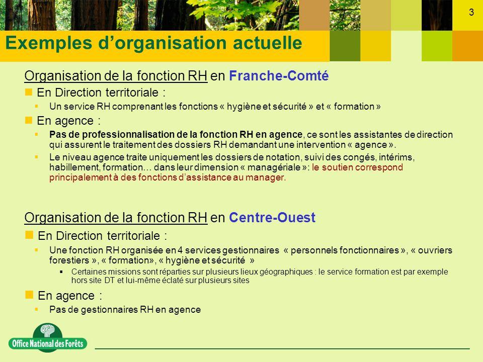 3 Organisation de la fonction RH en Franche-Comté En Direction territoriale : Un service RH comprenant les fonctions « hygiène et sécurité » et « form