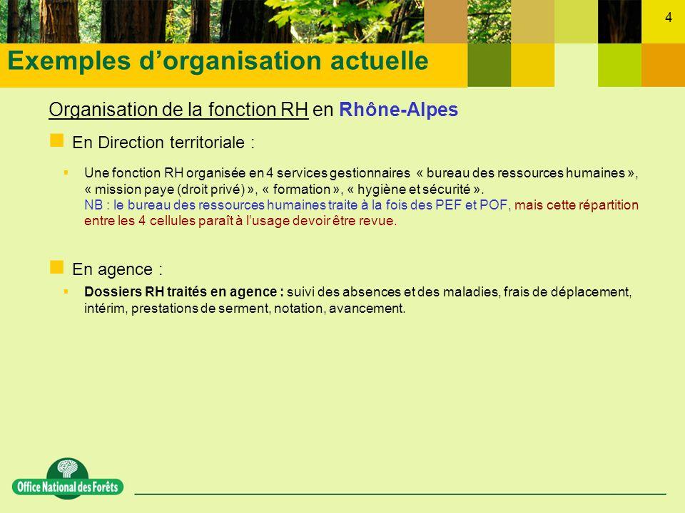 4 Organisation de la fonction RH en Rhône-Alpes En Direction territoriale : Une fonction RH organisée en 4 services gestionnaires « bureau des ressour