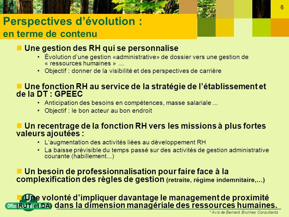 6 Une gestion des RH qui se personnalise Évolution dune gestion «administrative» de dossier vers une gestion de « ressources humaines » … Objectif : d