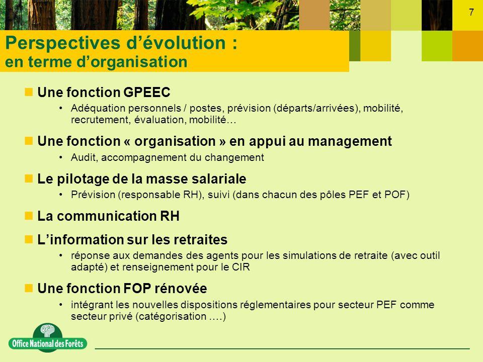 7 Une fonction GPEEC Adéquation personnels / postes, prévision (départs/arrivées), mobilité, recrutement, évaluation, mobilité… Une fonction « organis