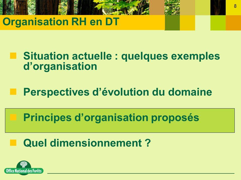 8 nSituation actuelle : quelques exemples dorganisation nPerspectives dévolution du domaine nPrincipes dorganisation proposés nQuel dimensionnement ?