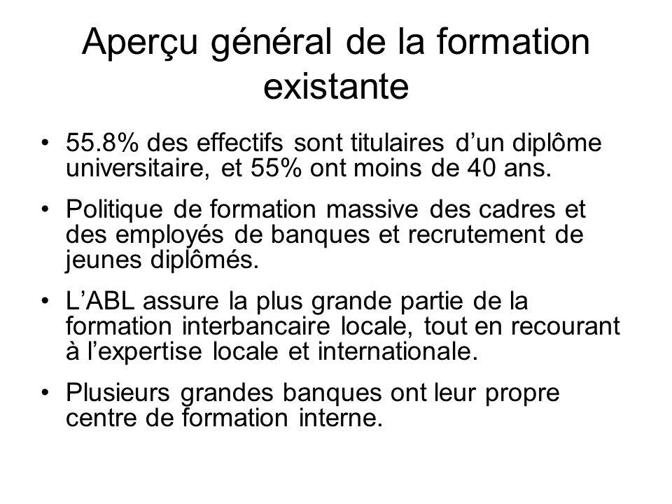 Aperçu général de la formation existante 55.8% des effectifs sont titulaires dun diplôme universitaire, et 55% ont moins de 40 ans.