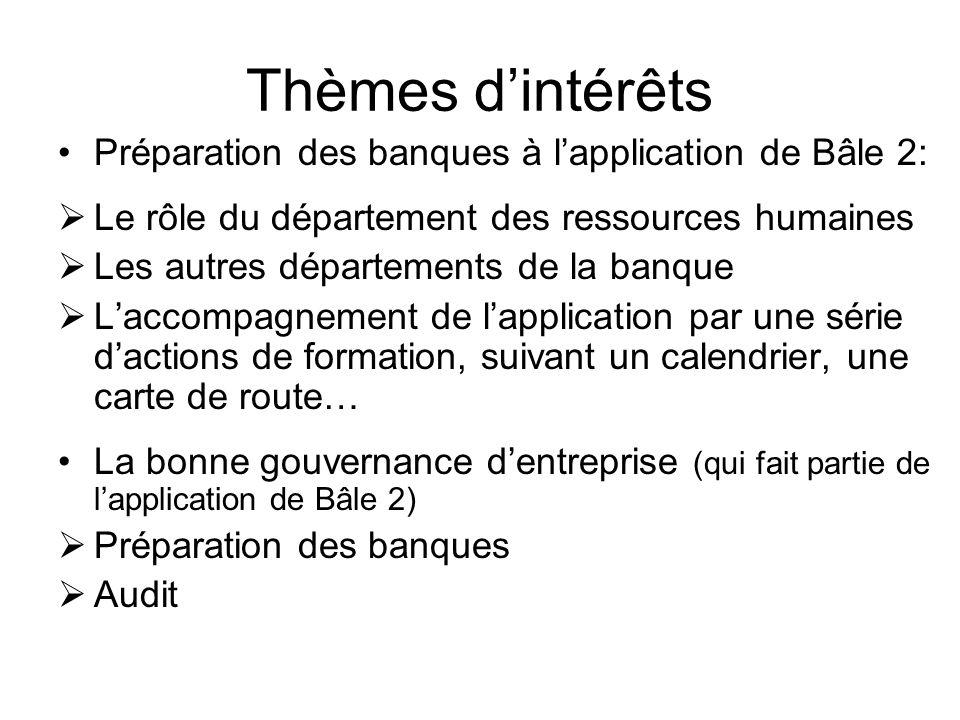 Thèmes dintérêts (suite) Le financement des PME.