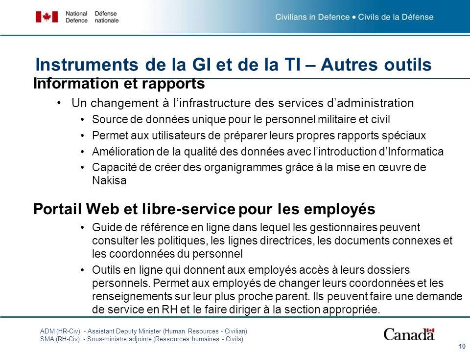 ADM (HR-Civ) - Assistant Deputy Minister (Human Resources - Civilian) SMA (RH-Civ) - Sous-ministre adjointe (Ressources humaines - Civils) Information