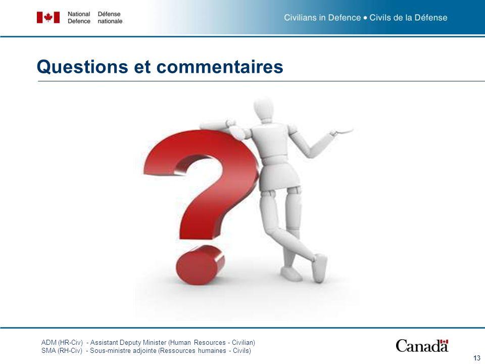 ADM (HR-Civ) - Assistant Deputy Minister (Human Resources - Civilian) SMA (RH-Civ) - Sous-ministre adjointe (Ressources humaines - Civils) 13 Question