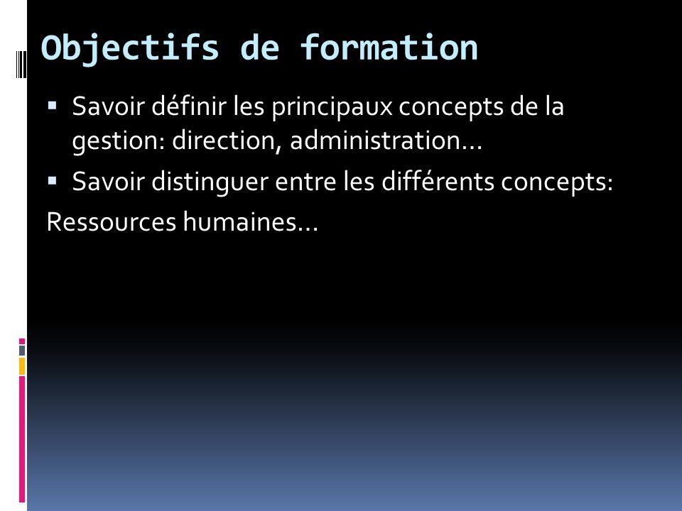 Objectifs de formation Savoir définir les principaux concepts de la gestion: direction, administration… Savoir distinguer entre les différents concepts: Ressources humaines…