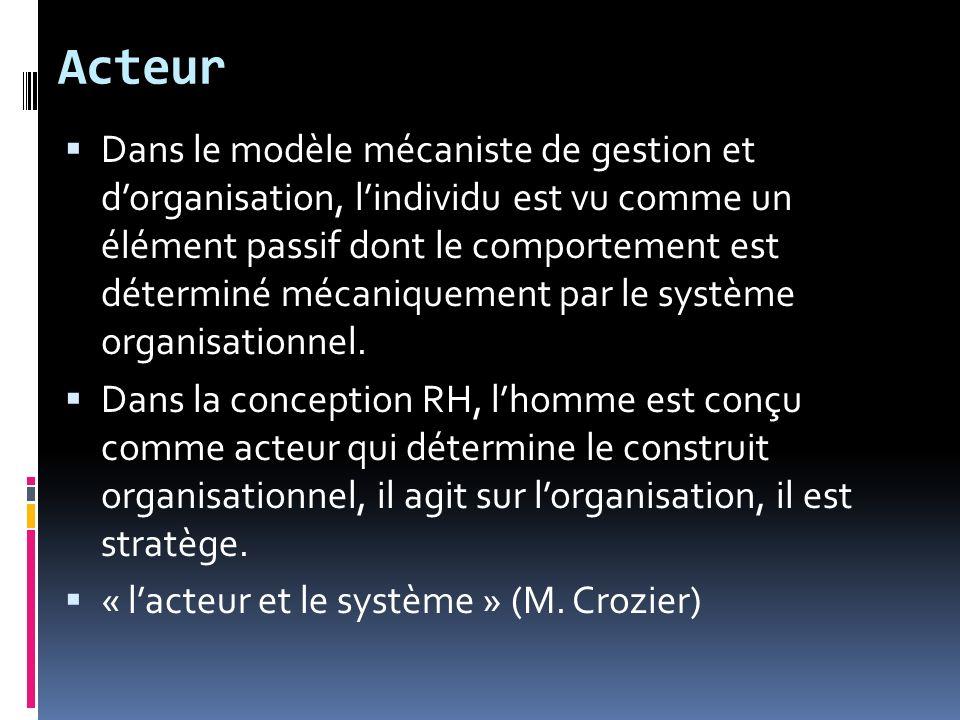 Acteur Dans le modèle mécaniste de gestion et dorganisation, lindividu est vu comme un élément passif dont le comportement est déterminé mécaniquement par le système organisationnel.