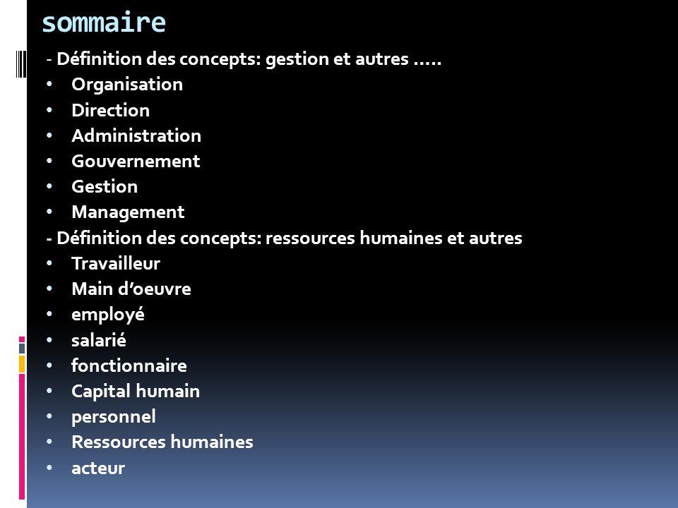 sommaire - Définition des concepts: gestion et autres …..