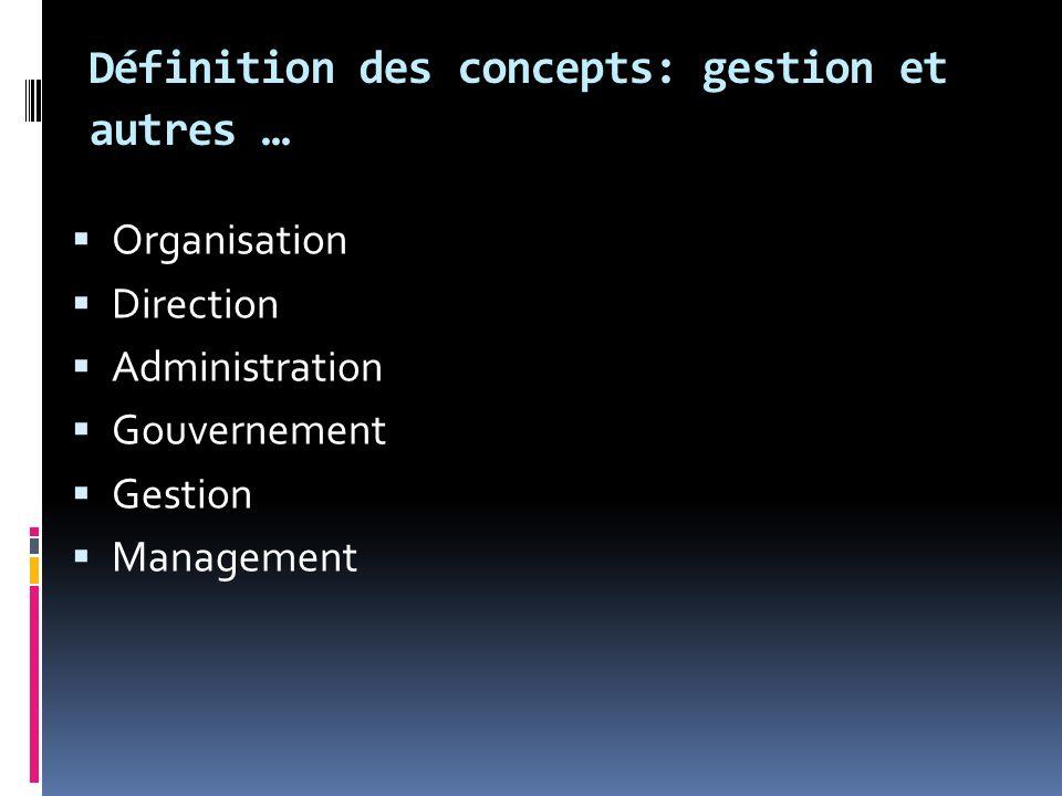Définition des concepts: gestion et autres … Organisation Direction Administration Gouvernement Gestion Management
