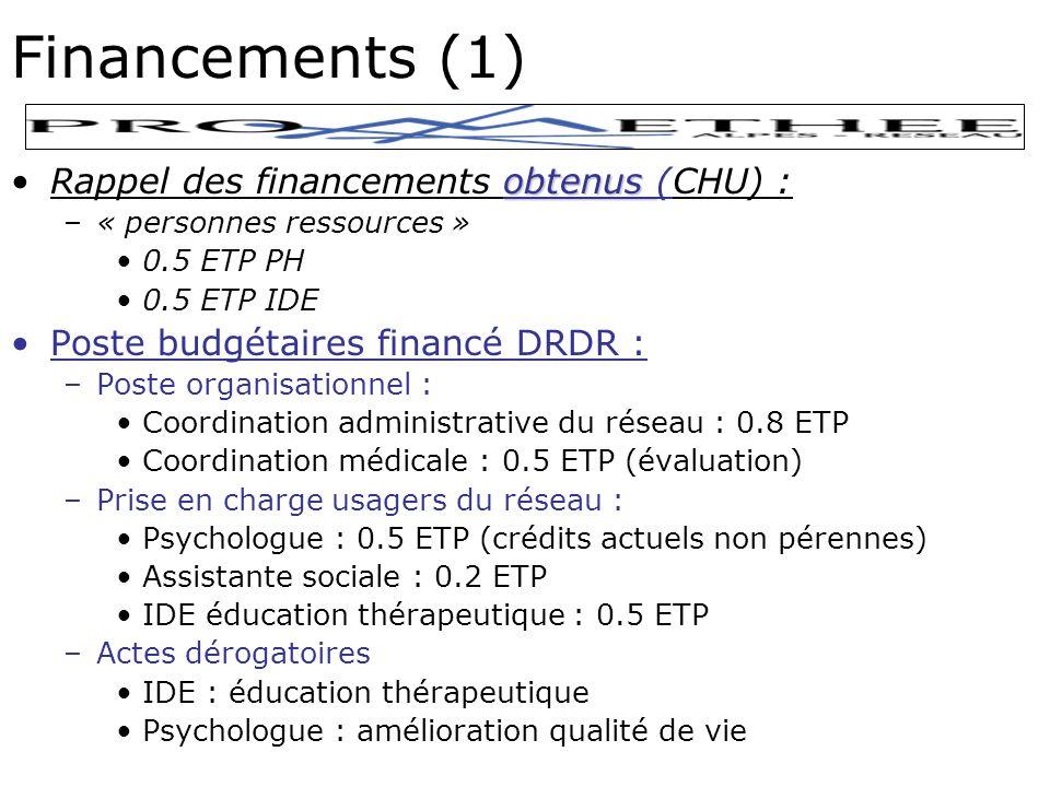 Financements (1) obtenusRappel des financements obtenus (CHU) : –« personnes ressources » 0.5 ETP PH 0.5 ETP IDE Poste budgétaires financé DRDR : –Poste organisationnel : Coordination administrative du réseau : 0.8 ETP Coordination médicale : 0.5 ETP (évaluation) –Prise en charge usagers du réseau : Psychologue : 0.5 ETP (crédits actuels non pérennes) Assistante sociale : 0.2 ETP IDE éducation thérapeutique : 0.5 ETP –Actes dérogatoires IDE : éducation thérapeutique Psychologue : amélioration qualité de vie