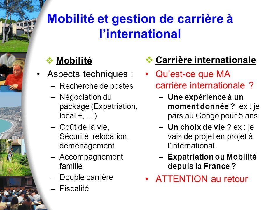 Mobilité et gestion de carrière à linternational Mobilité Aspects techniques : –Recherche de postes –Négociation du package (Expatriation, local +, …)
