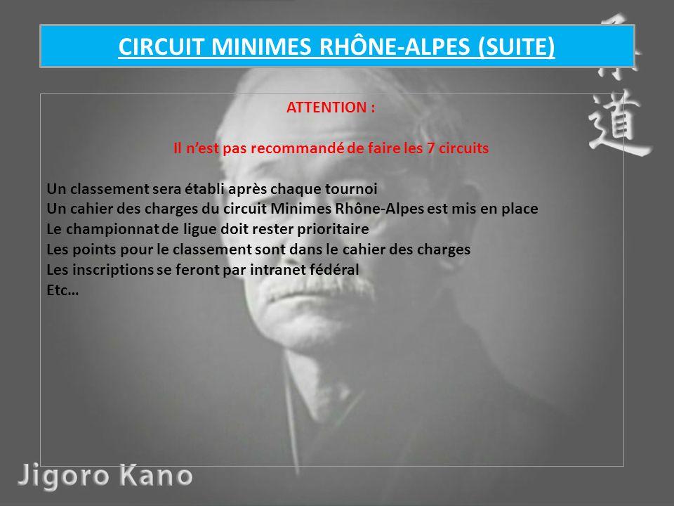 ATTENTION : Il nest pas recommandé de faire les 7 circuits Un classement sera établi après chaque tournoi Un cahier des charges du circuit Minimes Rhô