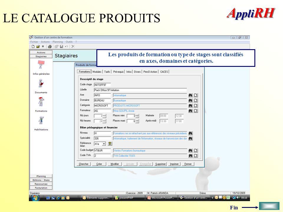 Fin LE CATALOGUE PRODUITS Les produits de formation ou type de stages sont classifiés en axes, domaines et catégories.