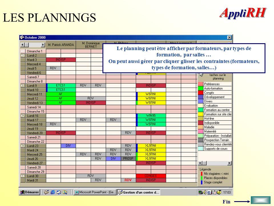 Fin LES PLANNINGS Le planning peut être afficher par formateurs, par types de formation, par salles … On peut aussi gérer par cliquer glisser les cont