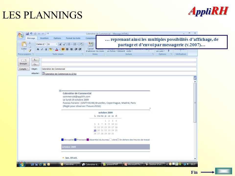 Fin LES PLANNINGS … reprenant ainsi les multiples possibilités daffichage, de partage et denvoi par messagerie (v.2007)…