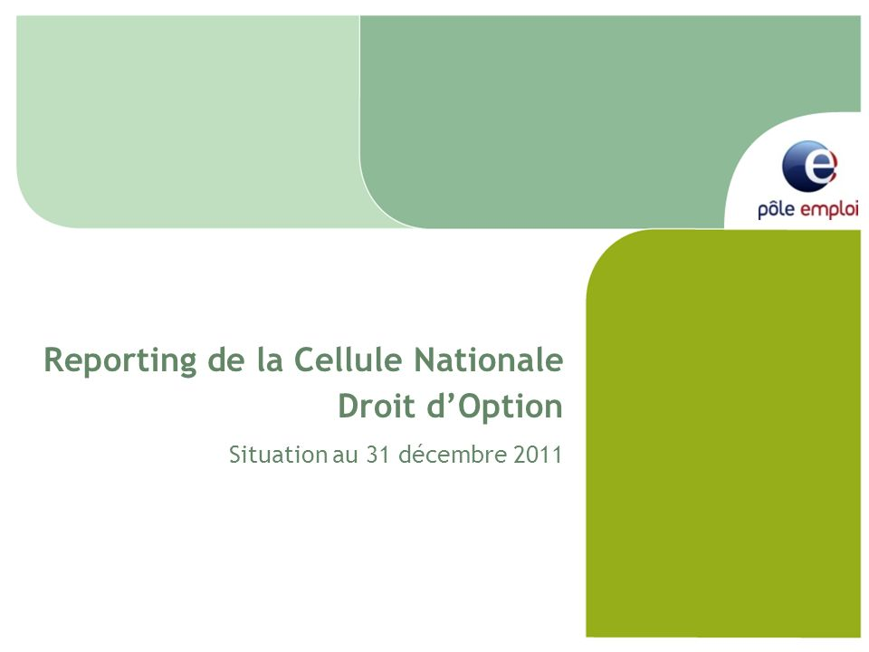 Reporting de la Cellule Nationale Droit dOption Situation au 31 décembre 2011