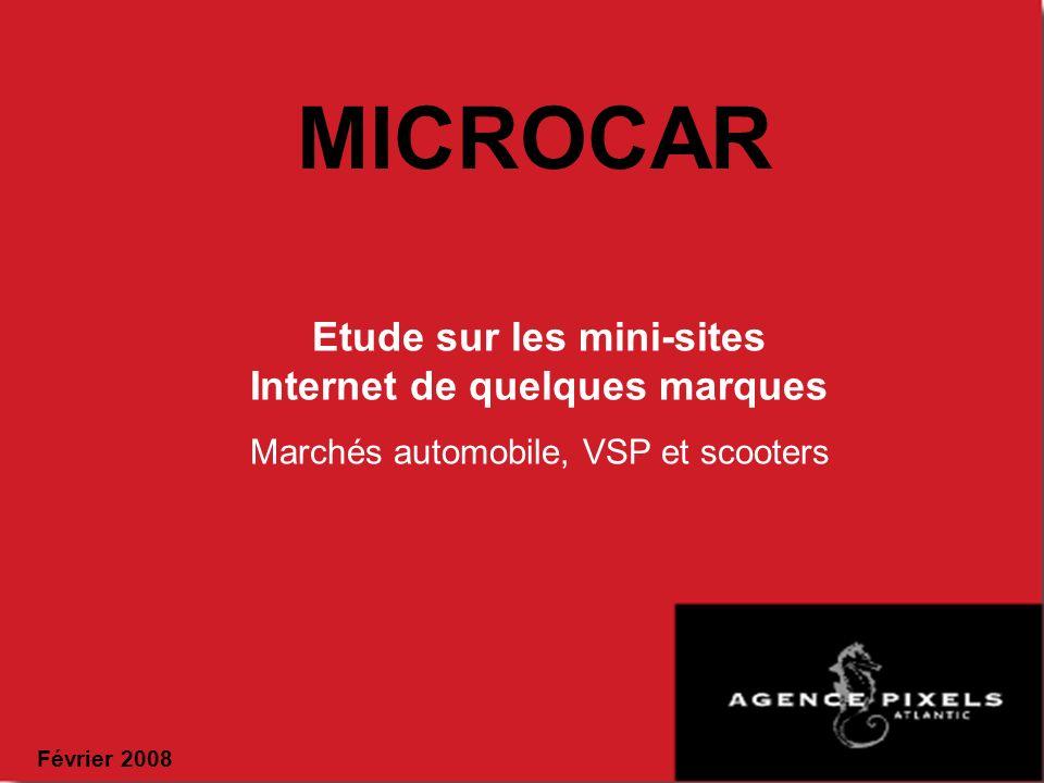 MICROCAR Etude sur les mini-sites Internet de quelques marques Marchés automobile, VSP et scooters Février 2008