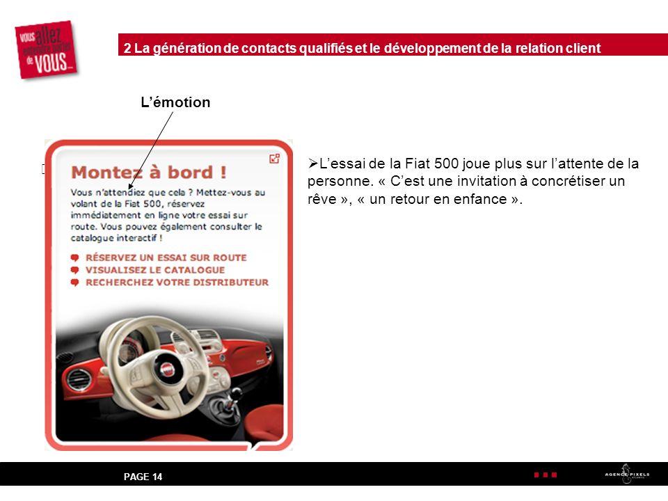 PAGE 14 Lémotion Lessai de la Fiat 500 joue plus sur lattente de la personne.