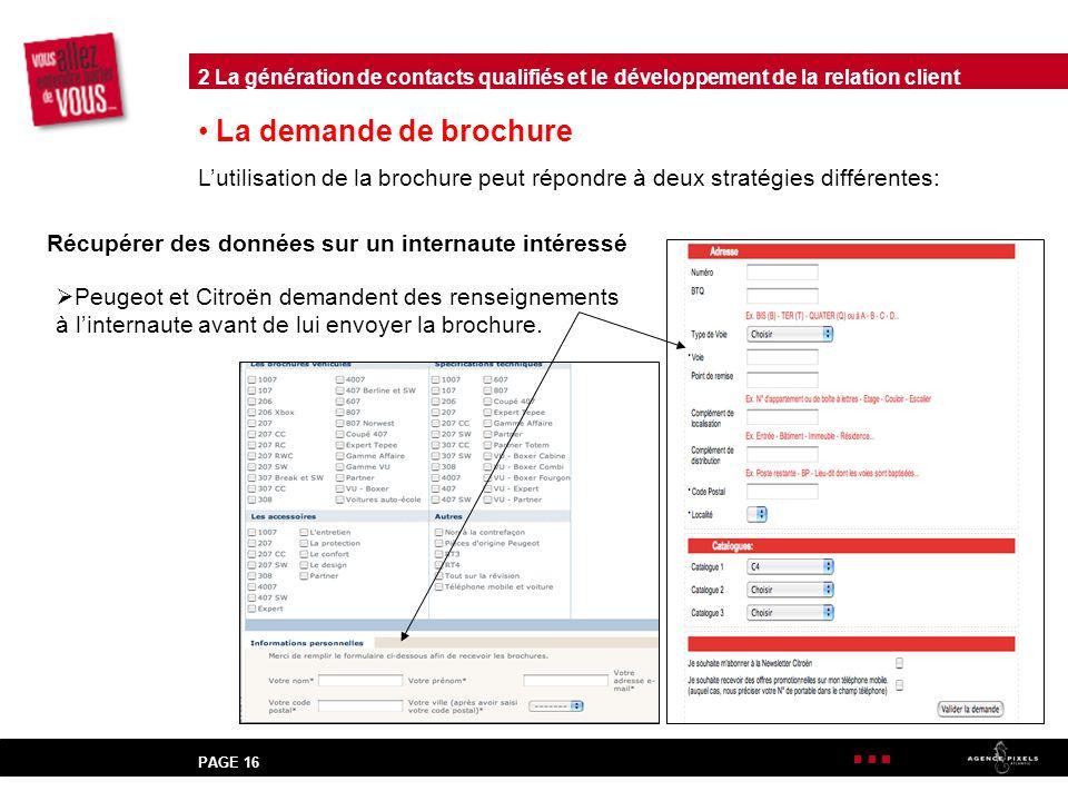 PAGE 16 La demande de brochure Lutilisation de la brochure peut répondre à deux stratégies différentes: Récupérer des données sur un internaute intéressé Peugeot et Citroën demandent des renseignements à linternaute avant de lui envoyer la brochure.