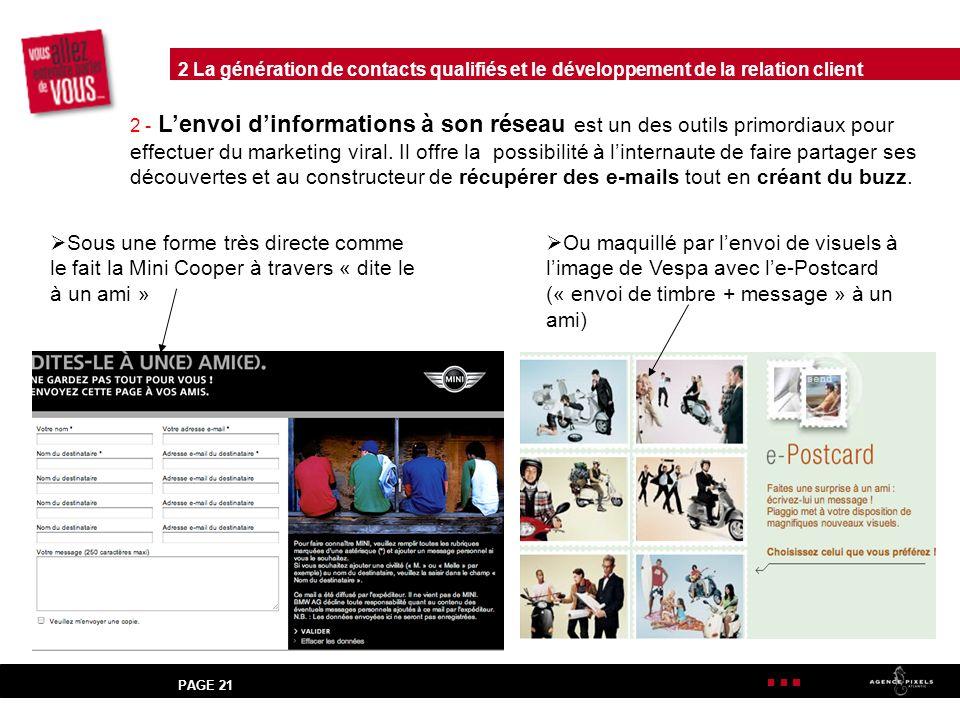 PAGE 21 2 - Lenvoi dinformations à son réseau est un des outils primordiaux pour effectuer du marketing viral.