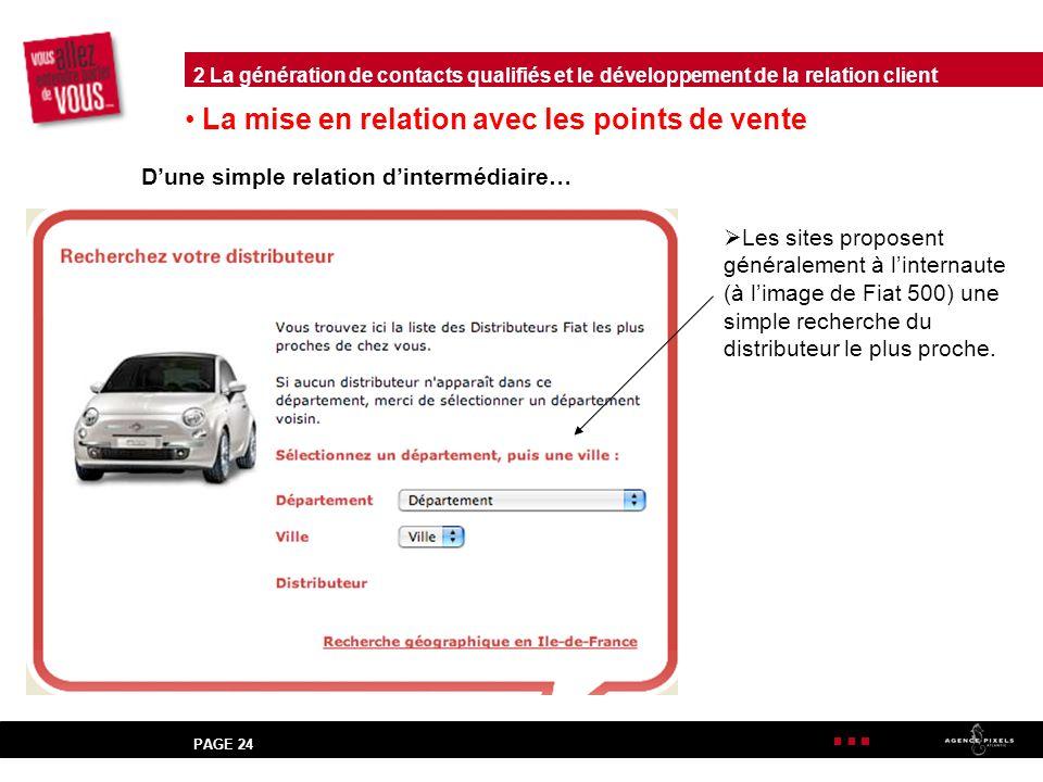 PAGE 24 La mise en relation avec les points de vente Dune simple relation dintermédiaire… Les sites proposent généralement à linternaute (à limage de Fiat 500) une simple recherche du distributeur le plus proche.